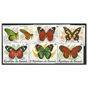 Burundi 1984 Butterflies um se-tenant pairs SG1426/1435. Scarce thematic set Cat £190