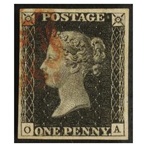 Great Britain 1840 SG2PLI1b 1d Black v/f used