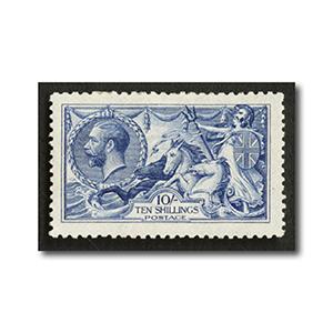 1915 10/- Blue, DLR ptng, fine mtd mint. SG412