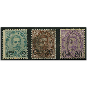 Italy S.G.44-6 1890 Ovpts on definitives