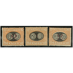 Italy S.G.47-9 1890-91 Postage Dues ovpt set 3