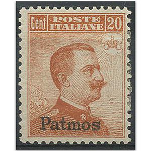 """Italy S.G.9H 1912-21 optd """"Patmos"""" 20c orange m/m"""