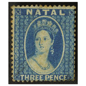 Natal 1859-63 3d Blue, no wmk, mm, some toning on reverse, Cat £325