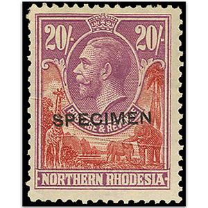Northern Rhodesia S.G.17 1925-9 20/- SPECIMEN m/m