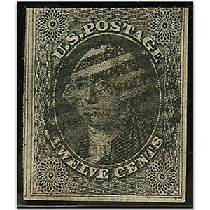 U.S.A.  S.G.19 1851-7 12c Grey black used