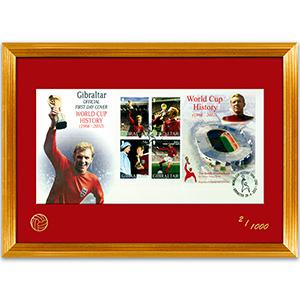 2002 Gibraltar Bobby Moore M/S Cover - World Cup 1966 History