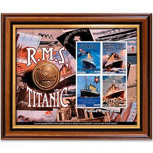 RMS Titanic - Period Postcards Stamp Sheet - Framed