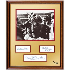 Black and White 1966 World Cup Photograph - Signed by Charlton, Cohen & Wilson