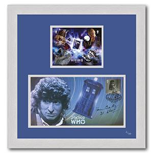 Dr Who Mini Sheet and First Day Cover Framed - Signed by Tom Baker