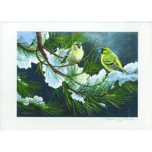 Framed signed J Paul Print - Siskins