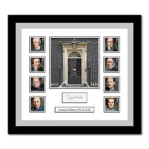 Prime Ministers Stamps and Margaret Thatcher Signature Framed