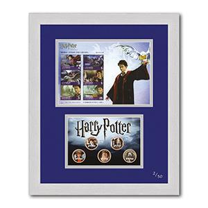Harry Potter Stamp Sheet and Coins (Framed)