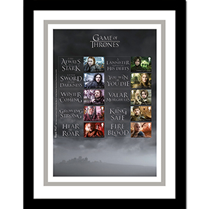 Game of Thrones Collectors Sheet Framed