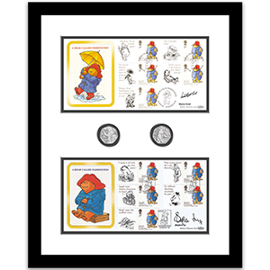 Paddington Bear - Framed Covers & 50p Coins - Signed by Michael Bond & Stephen Fry