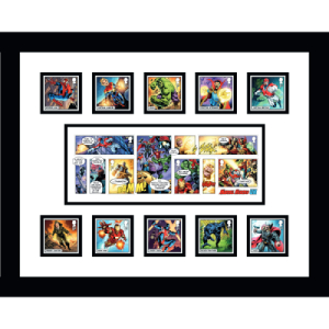 Marvel Stamps & Miniature Sheet Framed
