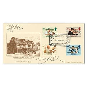 1984 Brit. Council, Shakespeare's Cottage. Signed Daryll Hannah and Rolf Saxon