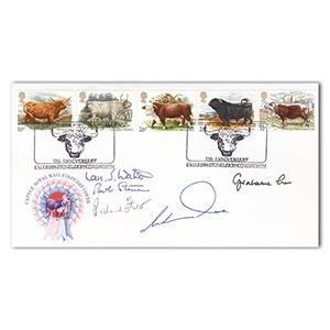 1989 British Cattle. Signed by 5. Rare Breeds postmark
