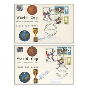 1966 World Cup Pair of Covers - Signed by Bobby Moore and Alf Ramsay