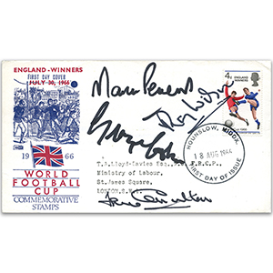 1966 World Cup Winners - Signed by Martin Peters, Ray Wilson, George Cohen & Jack Charlton