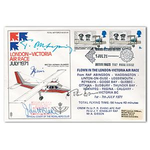 1971 London-Victoria Air Race - Signed by Sopwith, Blake and 2 Others