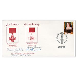 1997 Victoria Cross and George Cross Cover - Signed Umrao Singh VC, Ken Farrow GC and 2 Others