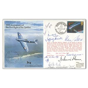 1986 50th Anniversary 1st Flight Spitfire - 9 Signatures Including 6 BoB Pilots