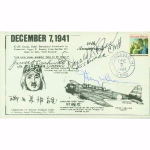 1981 40th Anniversary Pearl Harbour Air Raid - Signed by Brown and 2 Others
