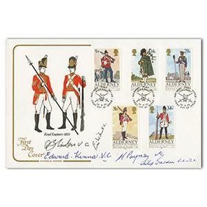 1985 Cotswold Alderney Regiments of Garrison. Signed 5 VC Holders.