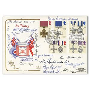 1990 Gallantry - Signed by 16 - 4 VC, 6 GC, 1 DSO, 2 DFC & 3 MM Holders