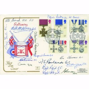 1990 Gallantry Cotswold Cover. Signed by 14 inc 2 Victoria Cross and 7 George Cross holders.