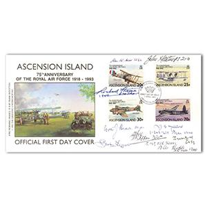 1993 Ascension Island - RAF 75th - Signed by 9 BoB Pilots & Crew