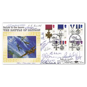 1990 Gallantry - Signed by 16: 7 BoB Pilots, 3 Victoria Cross & 3 George Cross Holders