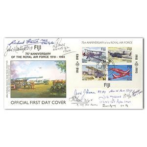 1993 RAF 75th Fiji M/S - Signed by 9 BoB Pilots & Crew