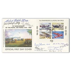 1990 RAF 75th Fiji M/S - Signed by 9 BoB Pilots, WAAF