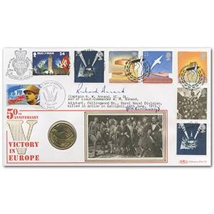 1995 VE Day Coin Cover - Signed  Richard Annand