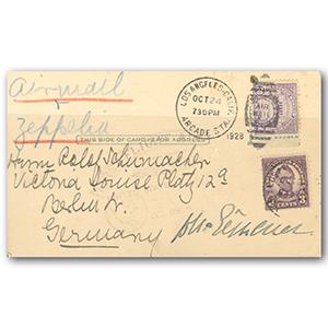 1928 Zeppelin Postcard Signed by Dr. Hugo Eckener