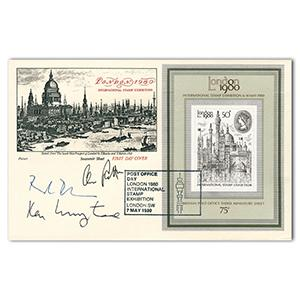 1980 International Stamp Exhibition London. Signed Ken Livingstone and 2 others.