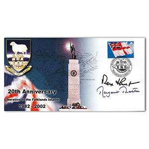 2002 20th Anniversary Falklands Liberation - Signed by Thatcher and Hunt