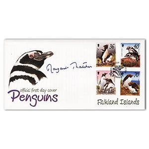 2002 Falkland Islands Penguins cover. Signed Margaret Thatcher.