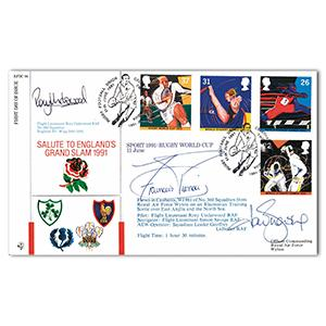 1991 England Grand Slam - Signed by Rory Underwood and 2 Others