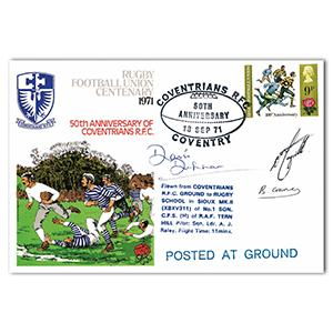 1971 RFU Centenary -  Coventrians RFC 50th Anniversary - Signed by 3