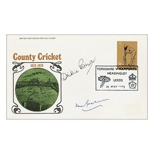 1973 Cricket - Signed by Don Bradman and Dickie Bird