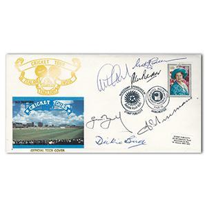 1990 Cricket Tour - Signed by Trueman, Bird, Gooch, Hadlee & 2 Others