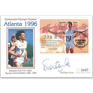 1996 Seb Coe Atlanta Cover - With M/S - Signed Seb Coe OBE