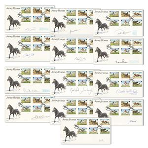 1998 Jersey Horses - Set of 13 Signed, Including Carson, Piggott, Pitman, Eddery & Green
