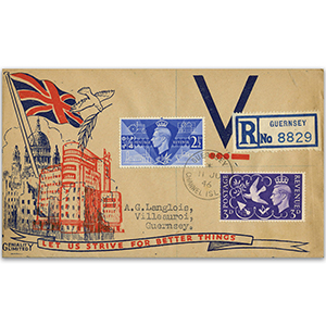 1946 Victory, Geniality Ltd. illustrated cover. Guernsey cds