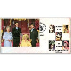 2000 Queen Mother 100th - Elizabeths Drive London N14 Handstamp