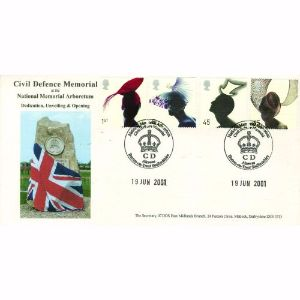 2001 Hats, Colin young official. Civil Defence Memorial cancel.