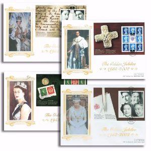 2002 Golden Jubilee prestige stamp booklets. Westminster Silk Offcials. Set of four. London H/S.