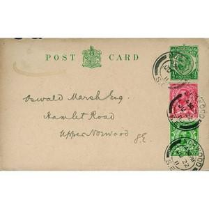 1911 Pre-paid Card Plus 1d & d Stamps - Norwood CDS